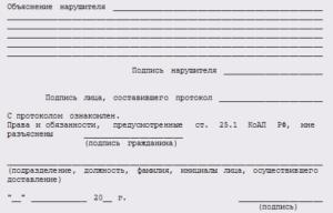 Образец заполнения протокола о доставлении.